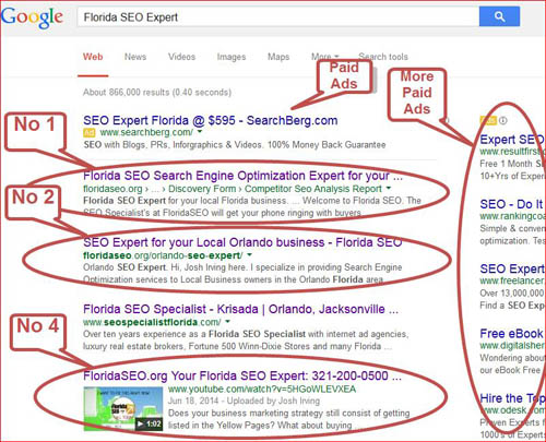 Florida SEO Expert services - 1st page results